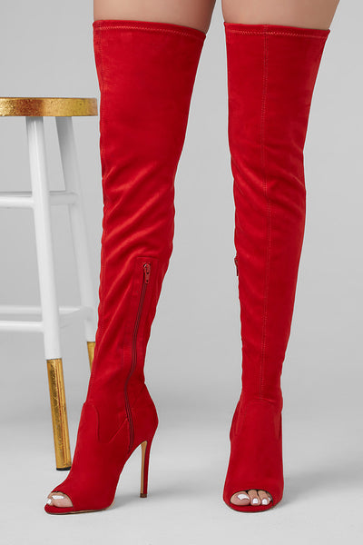 0d8ae4d42f1 Lori Peep Toe Thigh High Boot (Red) -Shop Women s Shoes Chris and ...