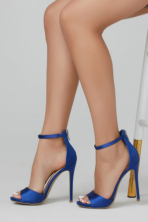 Balty Royal Blue Single Sole Open Toe High Heel