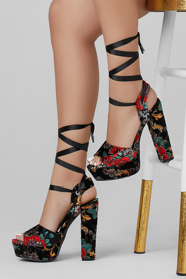 Joy Velvet Floral Lace up Platform Heels