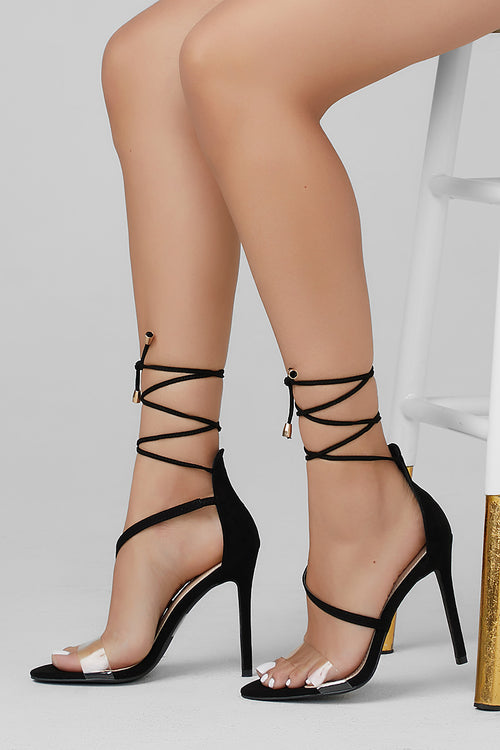 Rita Clear Ankle Strap Lace Up Heel (Black)