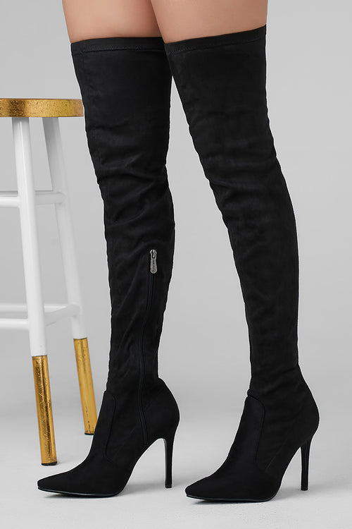 Basic Lee Black Thigh High Boot
