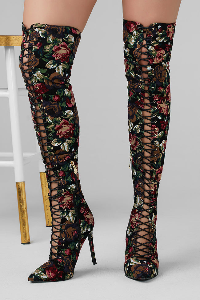 Amara Lace Up Thigh High Boot (Floral)