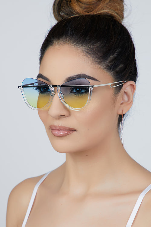 Ombre Cat Eye Sunglasses Blue