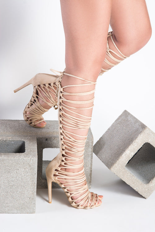 strappy lace up heel