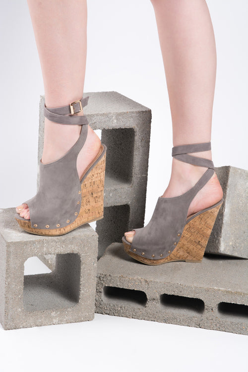Hazel Grey Platform Wedge Sandal