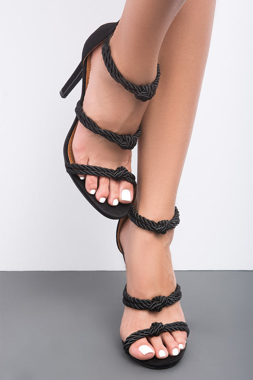 Unane Black Knotted Rope Open Toe Heel