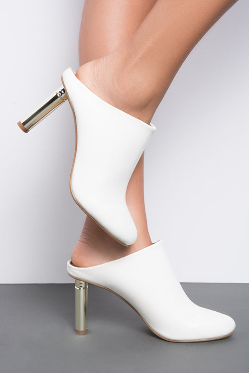 white mule gold heel