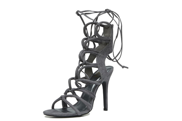 9731f224a0 Cora Grey Strappy Lace Up Heel -Shop Shoes at Chris and Maes! – Chris & Mae's  Shoetique