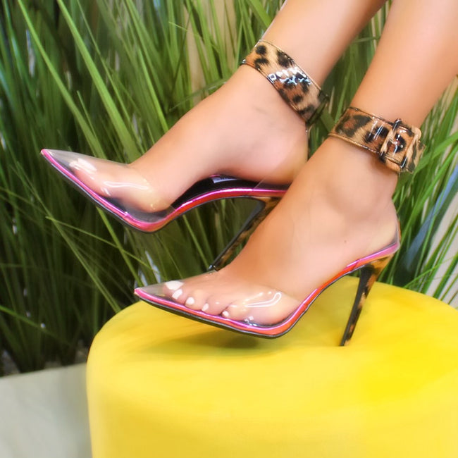 clear pvc leopard pump