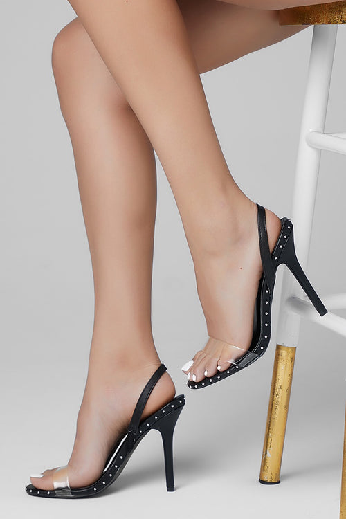 Qupid Studded Clear Black Heels