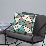 Polygon Throw Pillow (Teal/Beige)