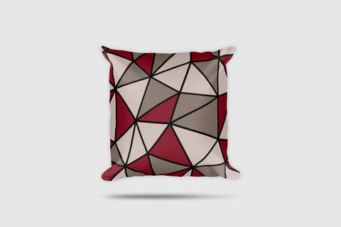 Polygon Throw Pillow (Maroon/Beige)