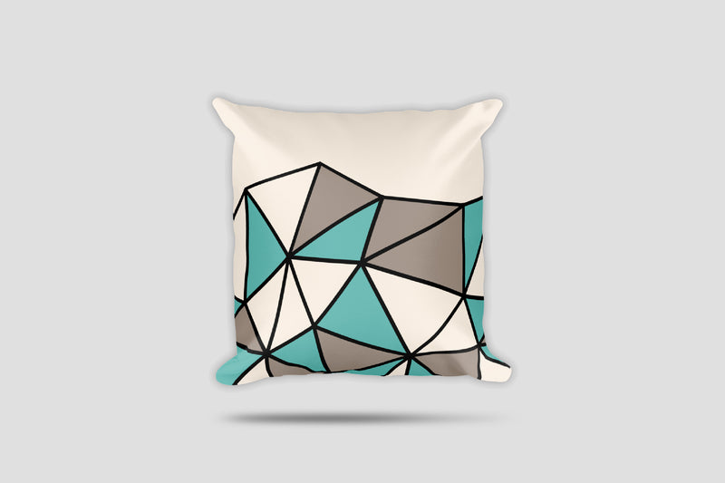 Polygon Cut-Off Throw Pillow (Teal/Beige)