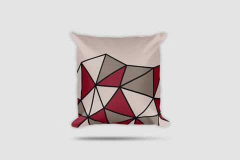 Polygon Cut-Off Throw Pillow (Maroon/Beige)