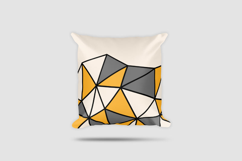 Polygon Cut-Off Throw Pillow (Yellow/Grey)