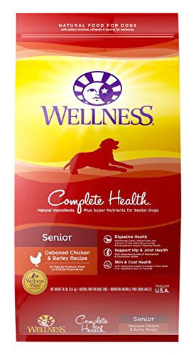 WELLNESS DOG COMPLETE HEALTH SENIOR DEBONED CHICKEN & BARLEY RECIPE 30LBS