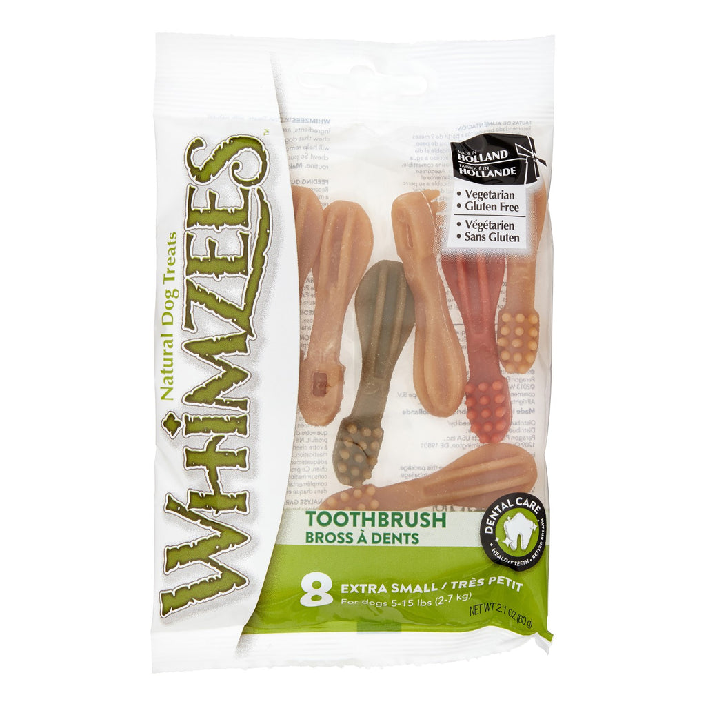 WHIMZEES BRUSHEEZ DOG CHEWS, X-SMALL 2.1OZ