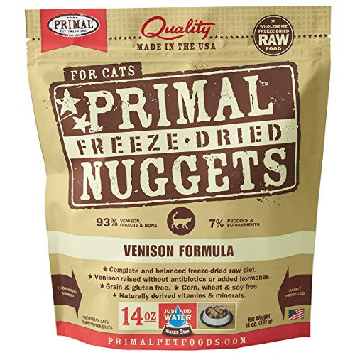 PRIMAL CAT DRIED VENISON 14OZ