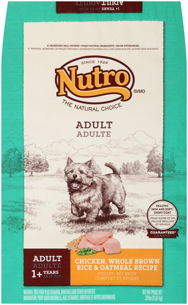 NUTRO NATURAL CHOICE DOG CHICKEN, WHOLE BROWN RICE & OATMEAL RECIPE 30LB