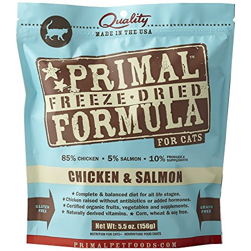 PRIMAL CAT DRIED CHICKEN & SALMON 5.5OZ