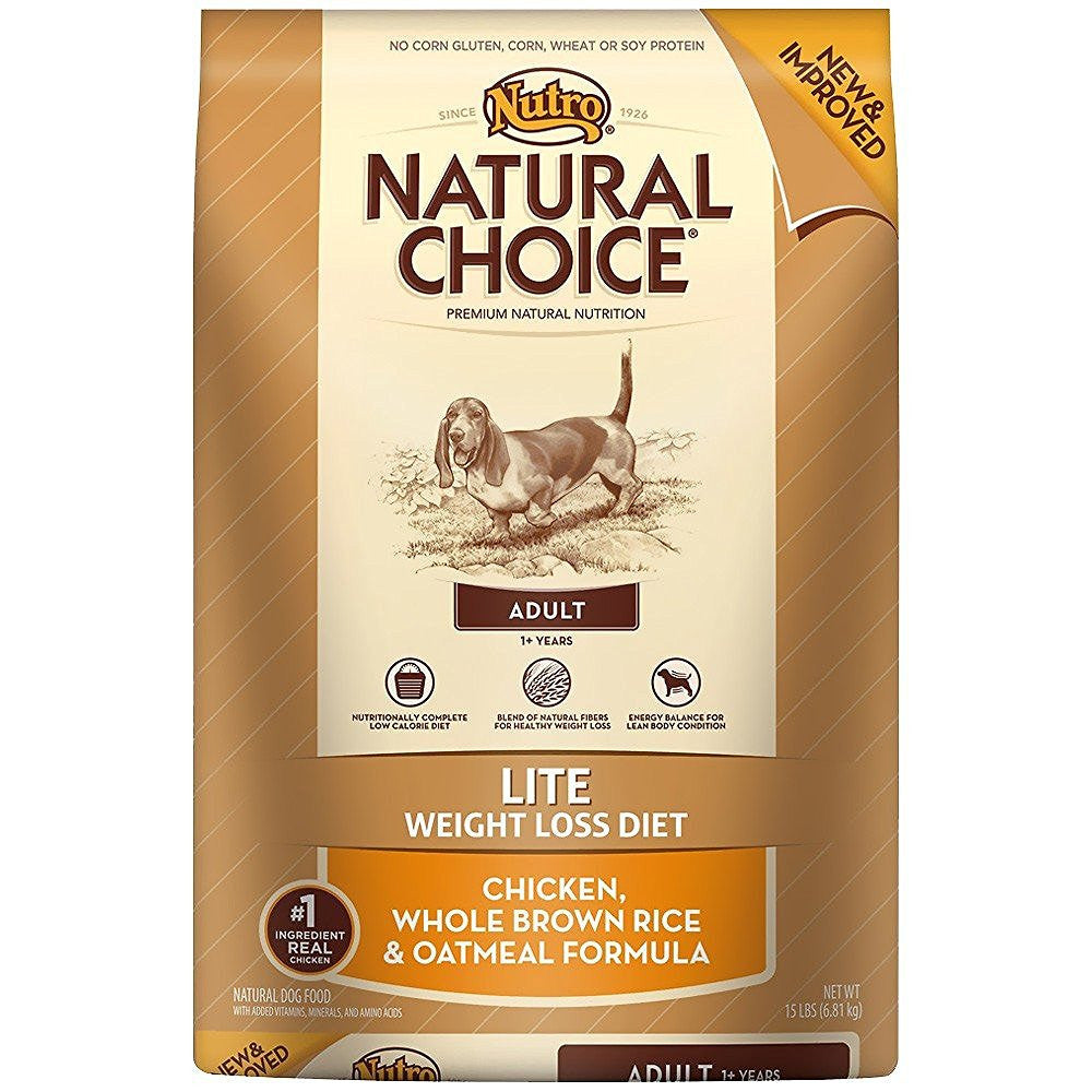 NUTRO NATURAL CHOICE DOG LITE CHICKEN, WHOLE BROWN RICE & OATMEAL FORMULA 15LBS
