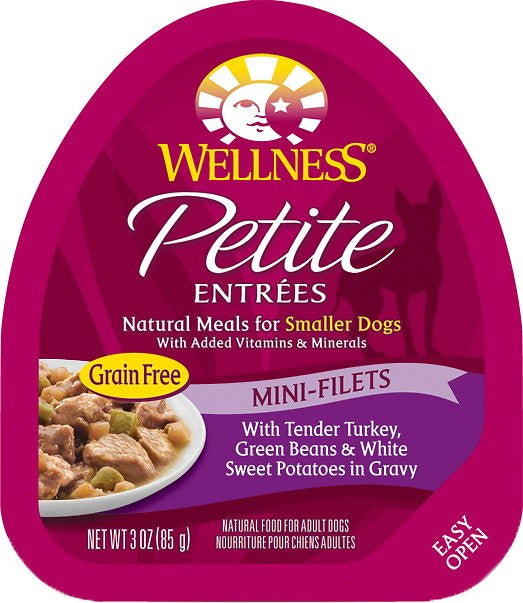 WELLNESS DOG PETITE ENTREES MINI-FILETS WITH TENDER TURKEY, GREEN BEANS & WHITE SWEET POTATOES IN GRAVY 3OZ