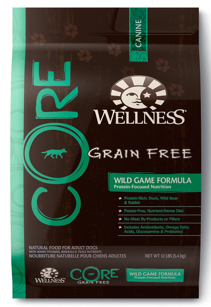 WELLNESS DOG CORE WILD GAME DUCK, TURKEY, BOAR & RABBIT 12LBS