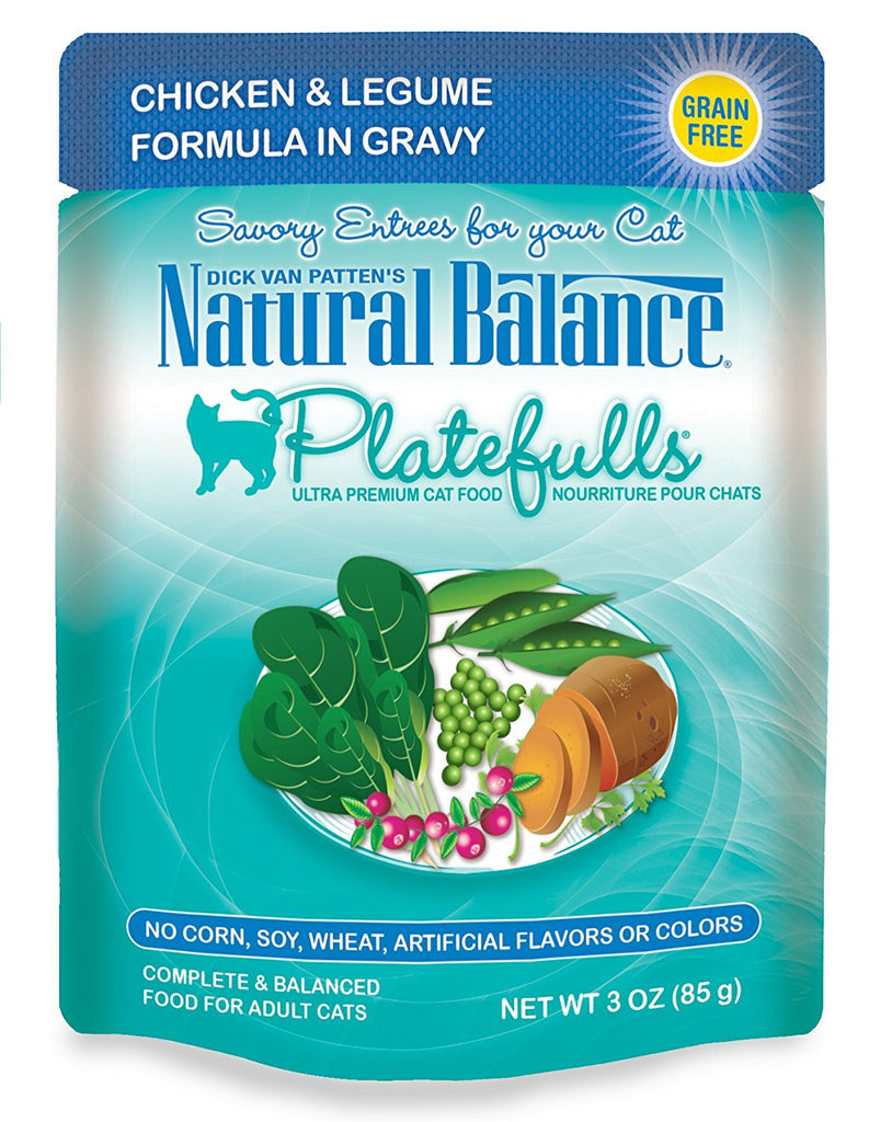 NATURAL BALANCE CAT PLATEFULLS POUCH CHICKEN & LEGUMES 3OZ