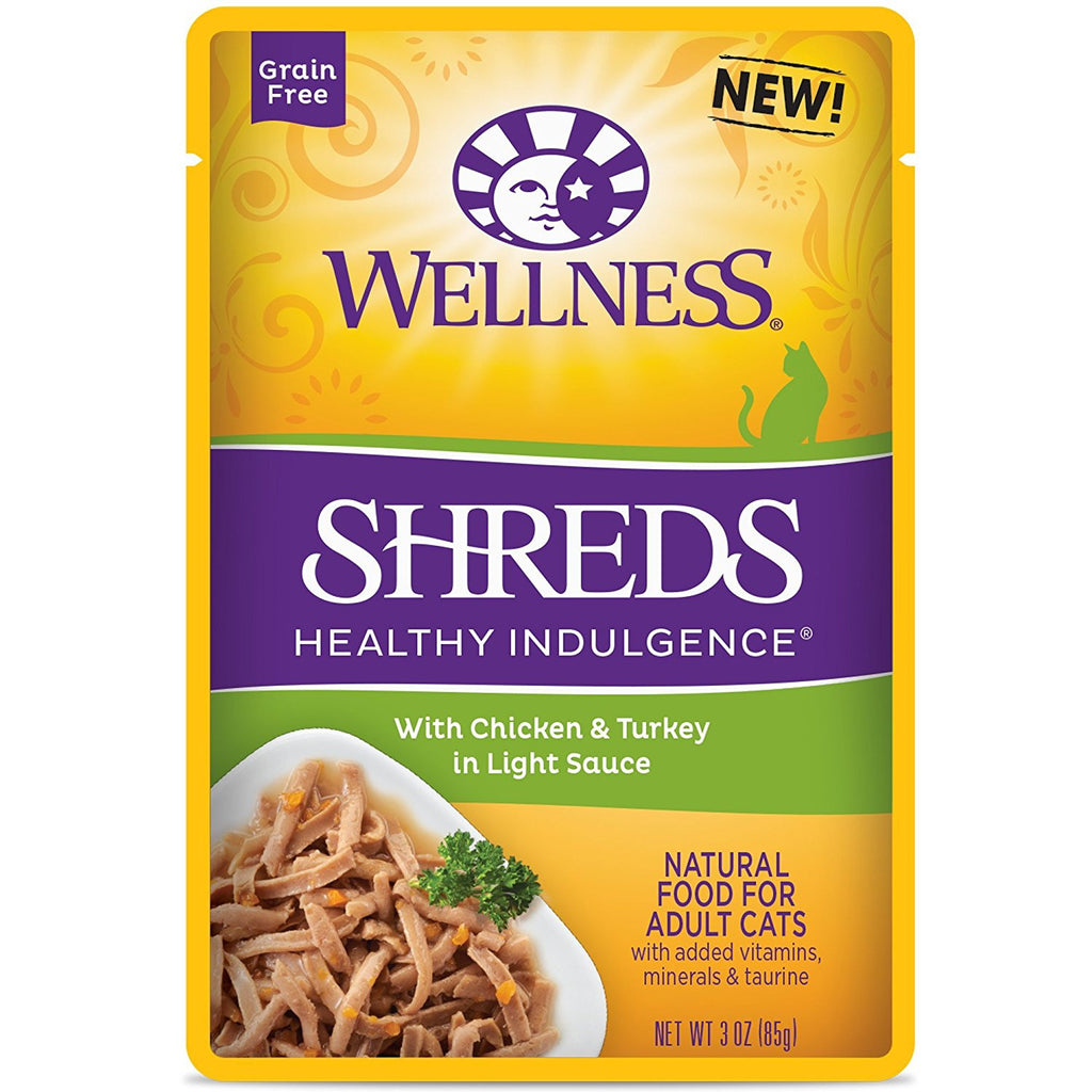 WELLNESS CAT HEALTHY INDULGENCE POUCH SHREDS WITH CHICKEN & TURKEY IN LIGHT SAUCE 3OZ