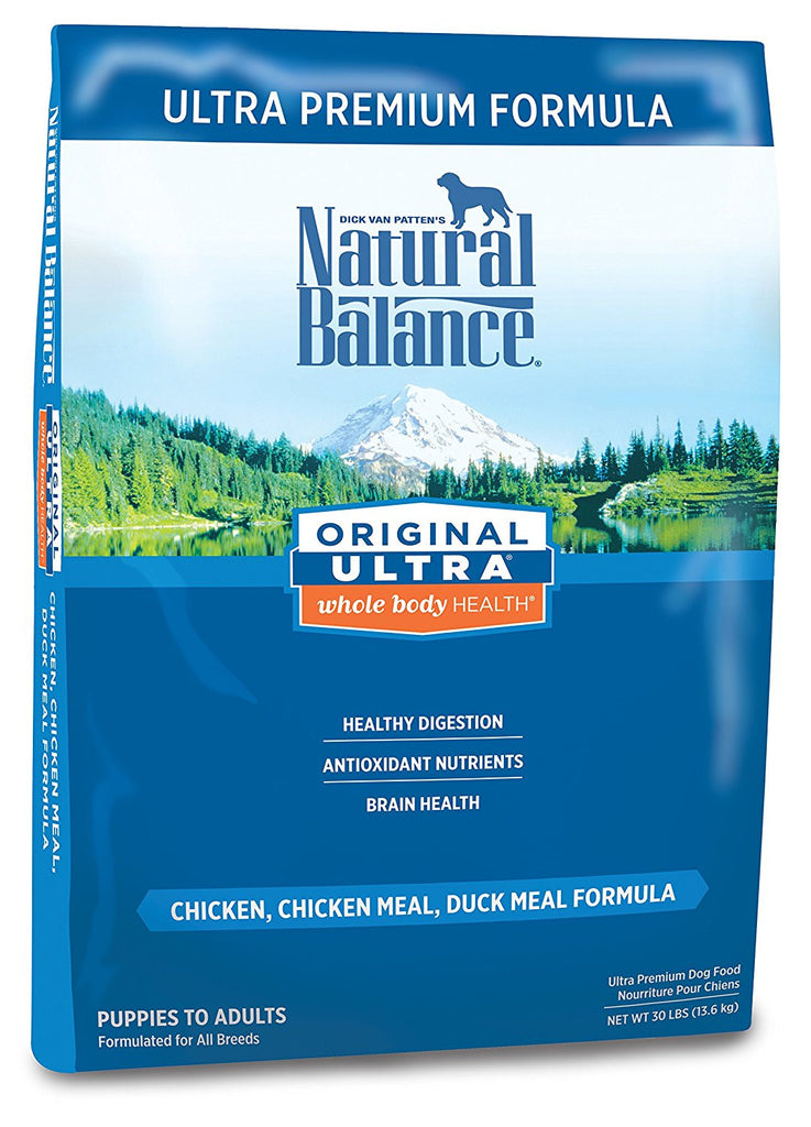 NATURAL BALANCE DOG ULTRA PREMIUM FORMULA CHICKEN, SALMON & DUCK 30LBS
