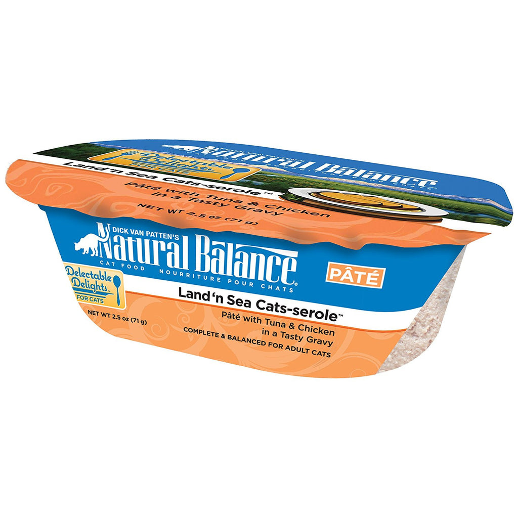 NATURAL BALANCE CAT DELECTABLE DELIGHTS LAND'N SEA CATS-SEROLE 2.5OZ