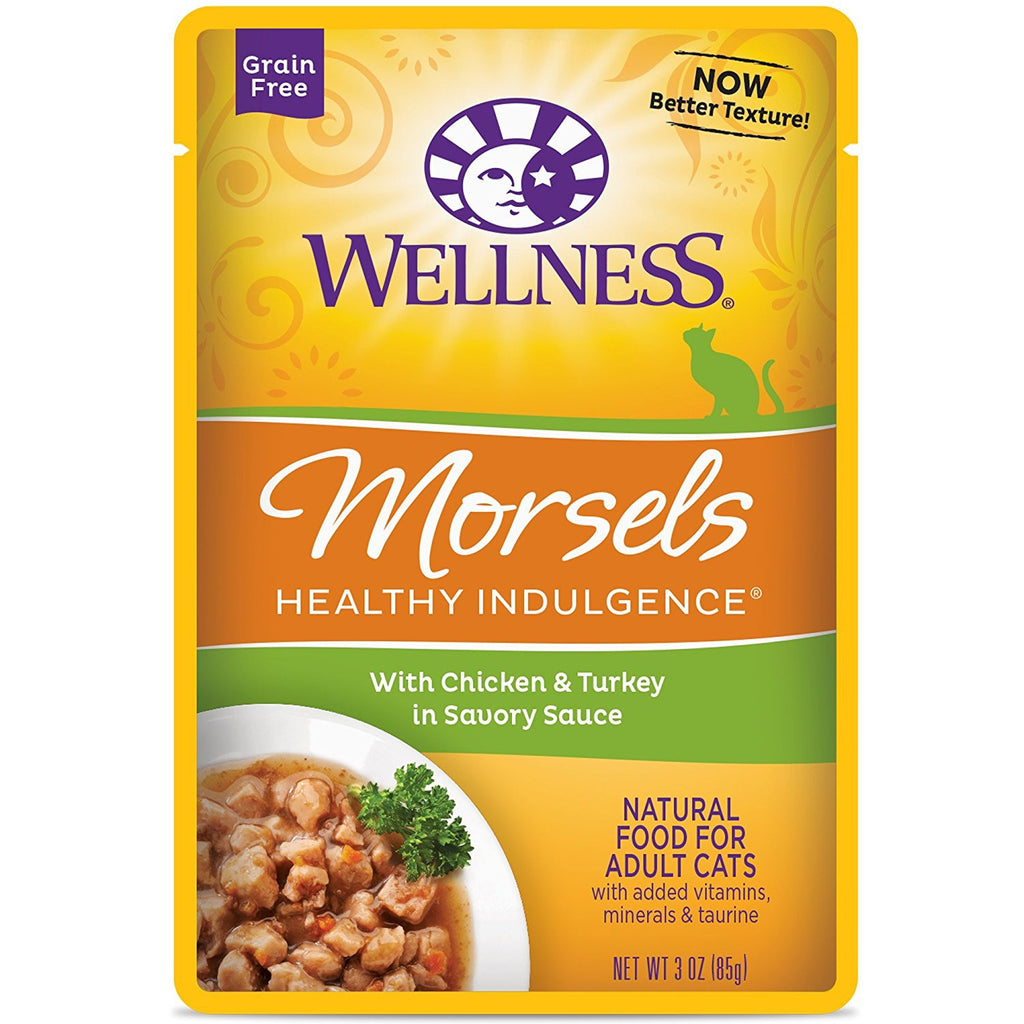 WELLNESS CAT POUCH MORSELS CHICKEN & TURKEY 3OZ