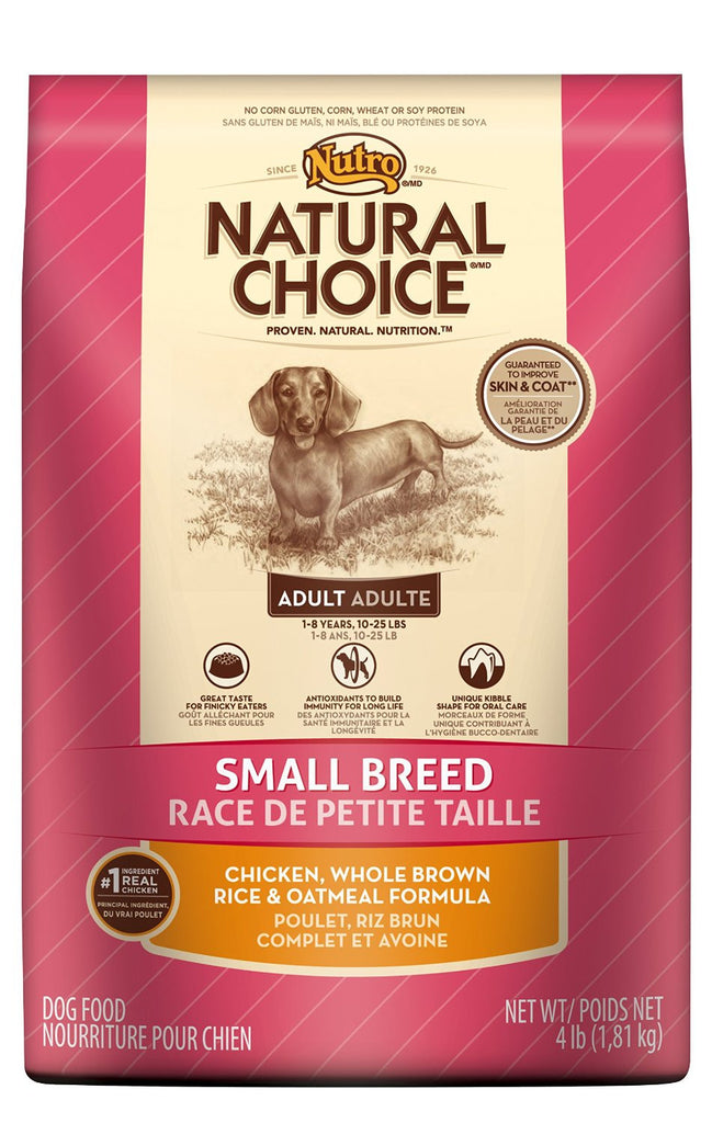 NUTRO NATURAL CHOICE DOG SMALL BREED CHICKEN, WHOLE BROWN RICE & OATMEAL FORMULA 4LBS