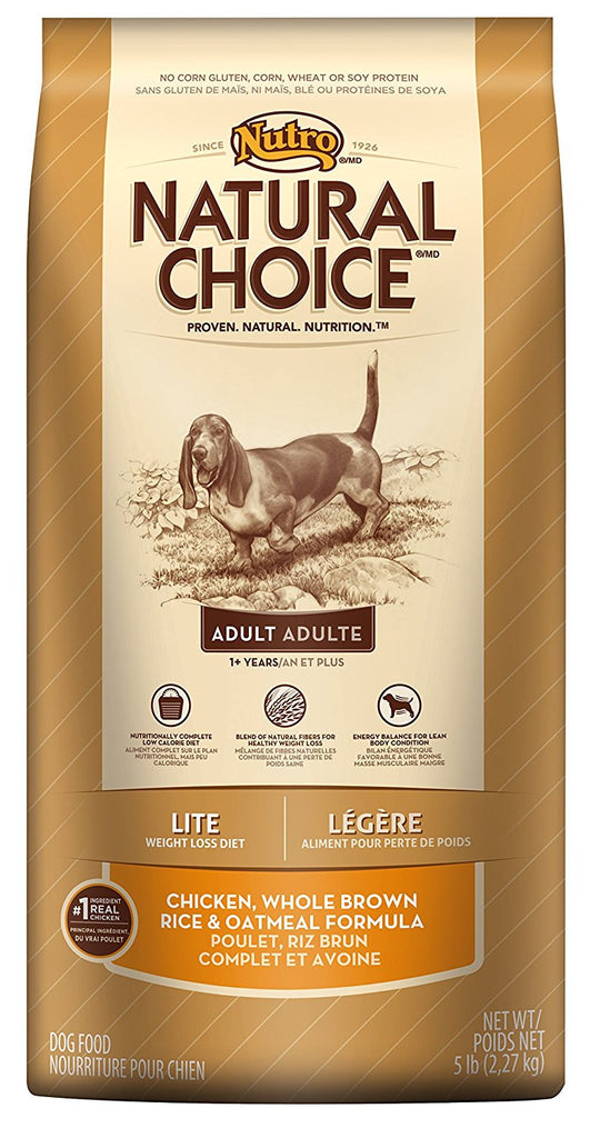 NUTRO NATURAL CHOICE DOG LITE CHICKEN, WHOLE BROWN RICE & OATMEAL FORMULA 5LBS
