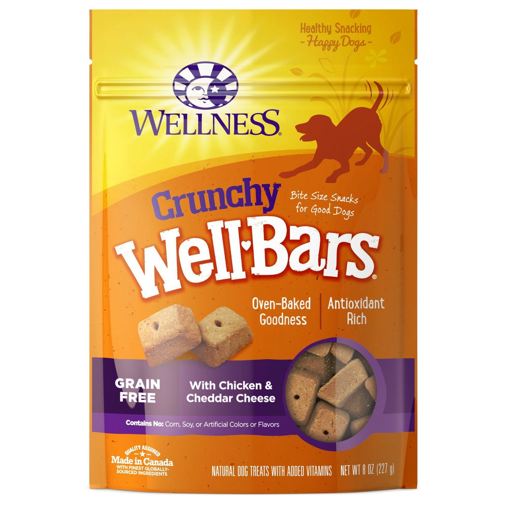 WELLNESS CRUNCHY WELLBARS CHICKEN & CHEDDAR CHEESE 8OZ