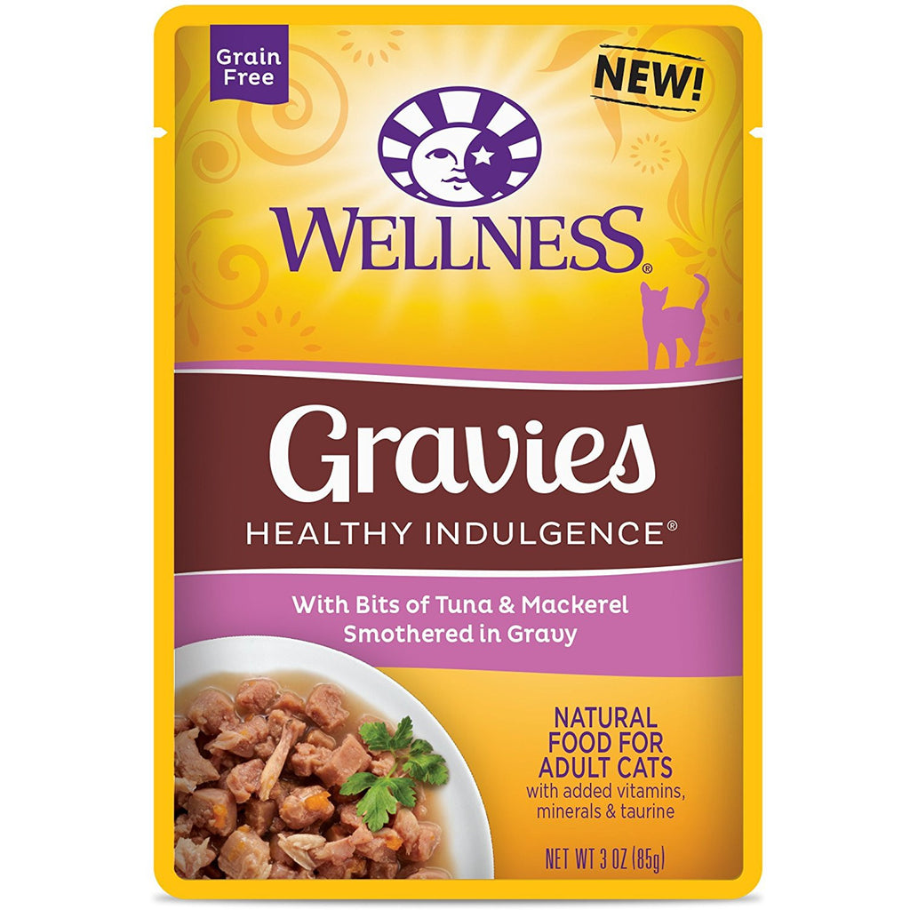 WELLNESS CAT POUCH GRAVIES HEALTHY INDULGENCE TUNA & MACKEREL 3OZ
