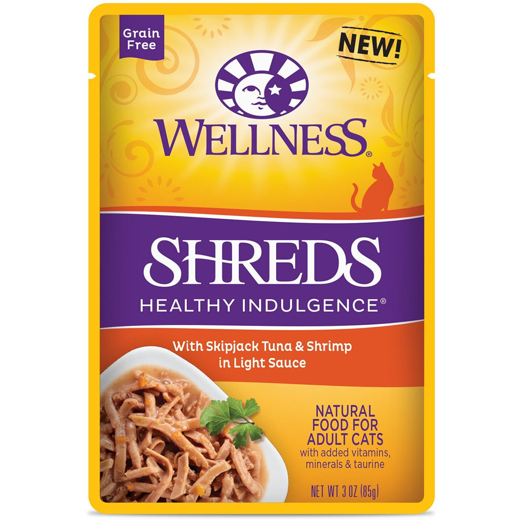 WELLNESS CAT HEALTHY INDULGENCE POUCH SHREDS WITH TUNA & SHRIMP IN LIGHT SAUCE 3OZ