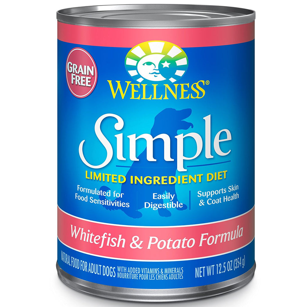 WELLNESS DOG SIMPLE LIMITED INGREDIENT WHITEFISH & POTATO RECIPE 12.5OZ