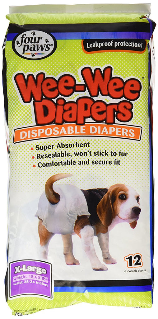 FOUR PAWS WEE WEE DIAPERS EXTRA LARGE 12PK