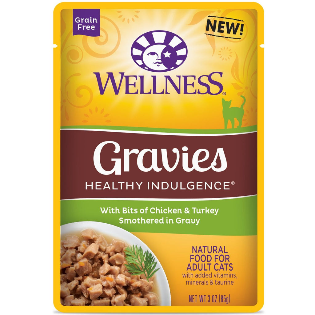 WELLNESS CAT POUCH GRAVIES HEALTHY INDULGENCE CHICKEN & TURKEY 3OZ