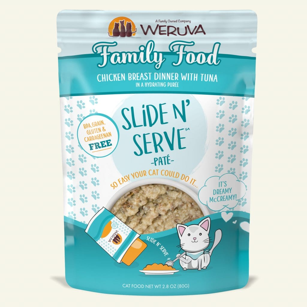 Weruva Cat Slide & Serve Pouch Family Food, Chicken Breast Dinner with Tuna, 2.8oz