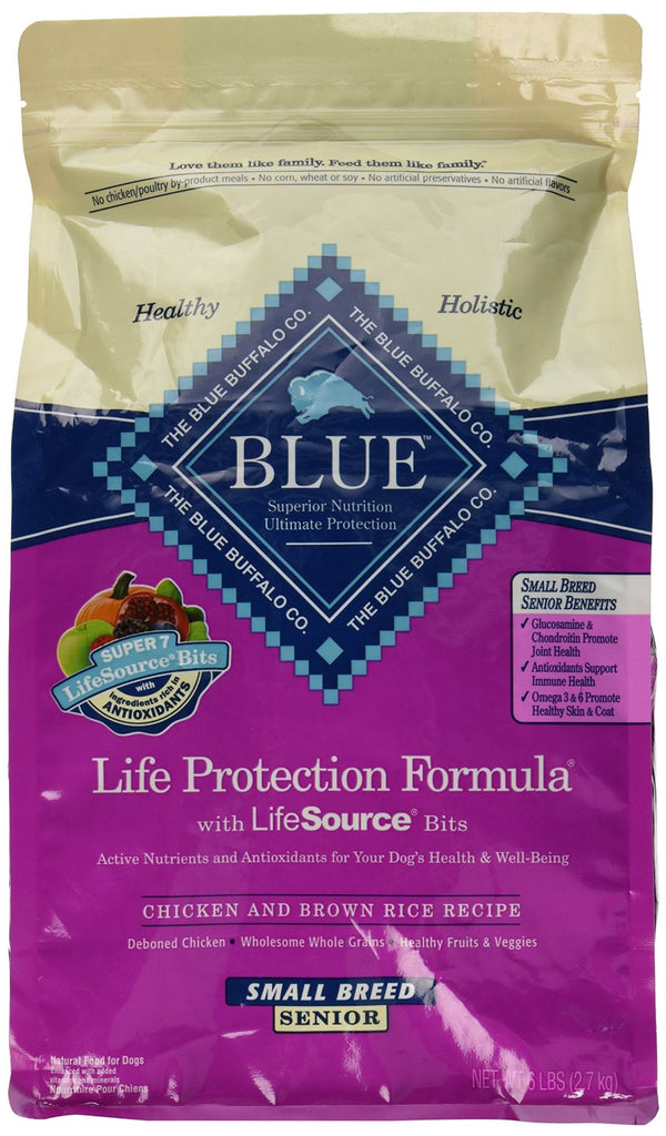 BLUE BUFFALO DOG SENIOR SMALL BREED CHICKEN & BROWN RICE 6LBS