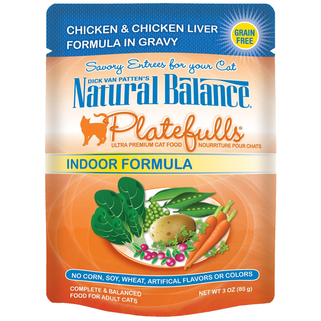 NATURAL BALANCE CAT PLATEFULLS POUCH INDOOR CHICKEN & LIVER 3OZ