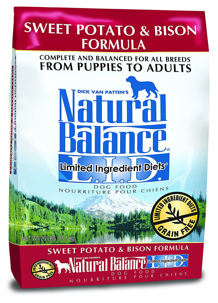 NATURAL BALANCE DOG LIMITED INGREDIENT DIET BISON & SWEET POTATO 26LBS