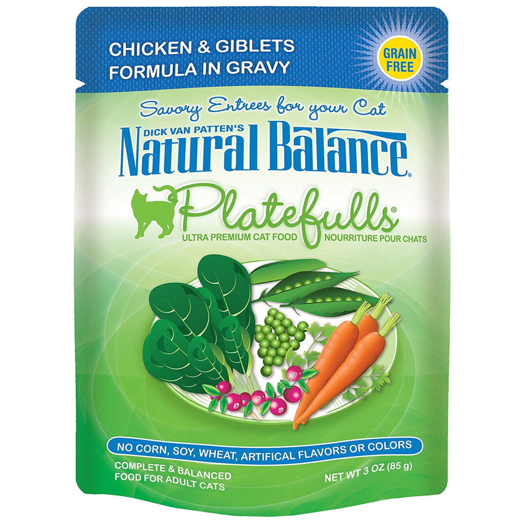 NATURAL BALANCE CAT PLATEFULLS POUCH CHICKEN & GIBLETS 3OZ