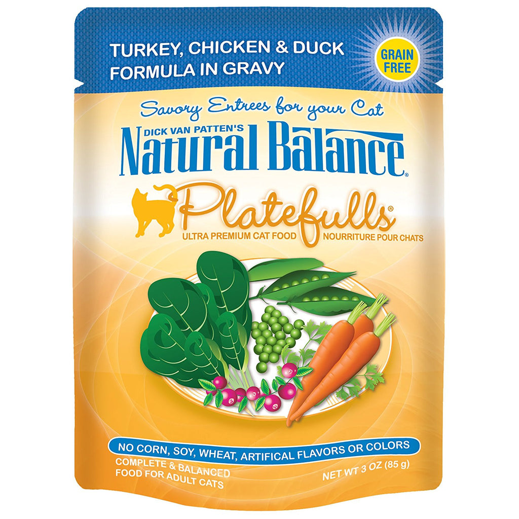 NATURAL BALANCE CAT PLATEFULLS POUCH TURKEY, CHICKEN & DUCK 3OZ