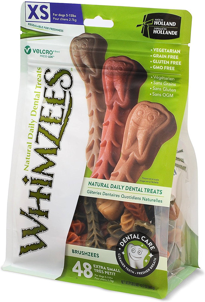 WHIMZEES BRUSHEEZ DOG CHEWS, X-SMALL, 48 COUNT 12.7OZ