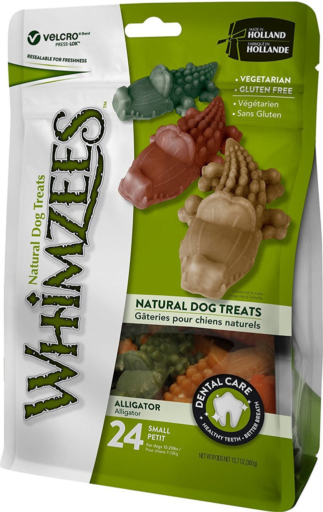 WHIMZEES ALLIGATOR, DOG CHEW, SMALL, 24 COUNT, 12.7OZ
