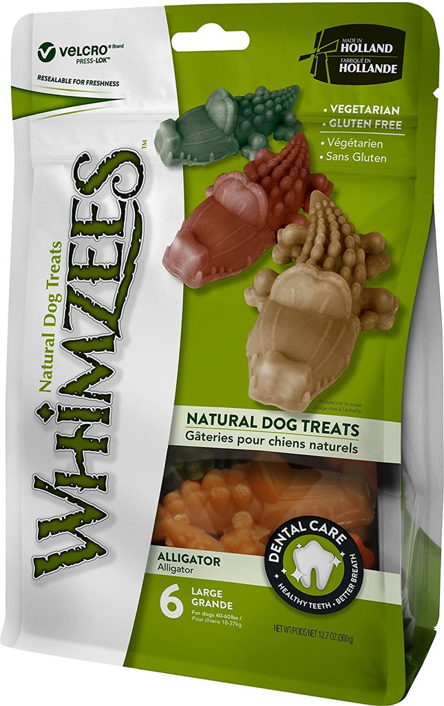 WHIMZEES ALLIGATOR, DOG CHEW, LARGE, 6 COUNT 12.7OZ