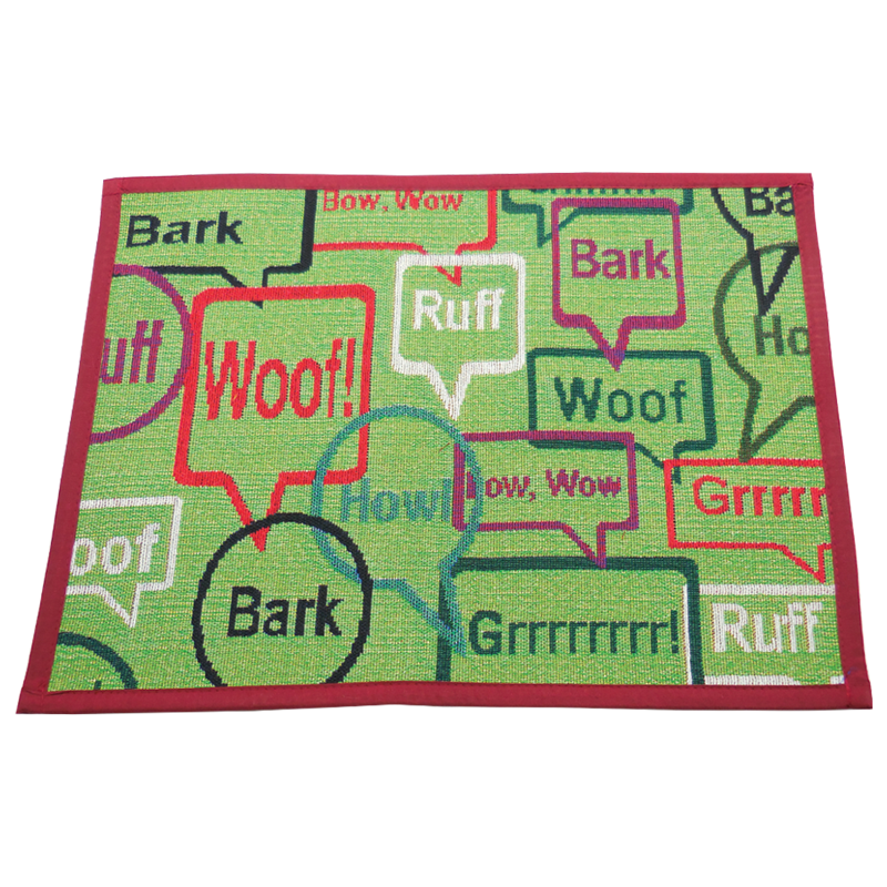 ARLEE BOWL MAT BOW WOW GREEN 13X18